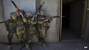 Afghan national army recruits train in Kabul