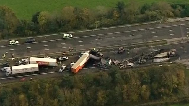 Aerial picture of the aftermath of the crash on the M5 in November 2011