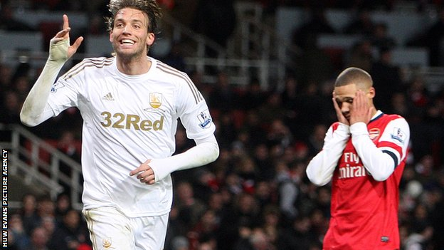Michu scoring in Swansea City's 2-0 win at Arsenal