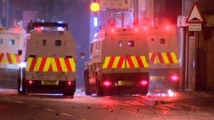 Scene of trouble in east Belfast on  Monday