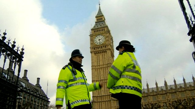 Police officers in front of Big Ben