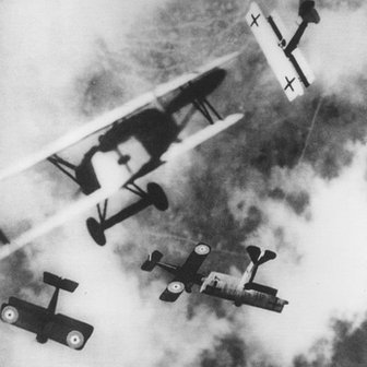 British SE-5s locked in aerial combat with German Fokker D7s, circa 1915