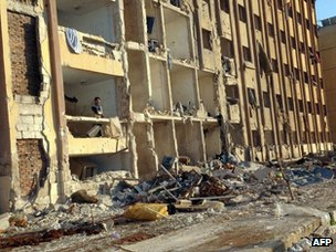Aftermath of explosions on the campus of Aleppo University (15 January 2013)