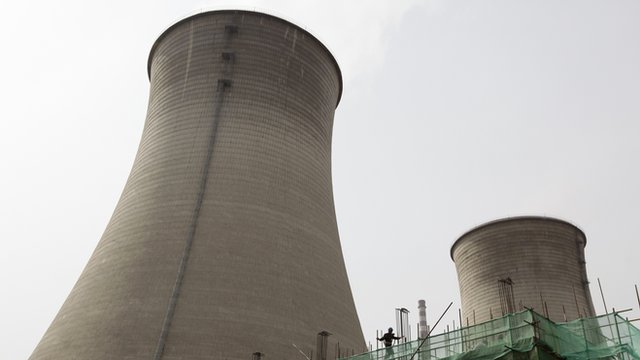 Water-cooling towers at a coal-fired power plant in Beijing