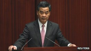 Hong Kong Chief Executive CY Leung delivers his maiden policy address at the Legislative Council on 16 January 2013