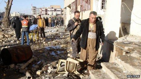 Scene of blast in Kirkuk (16/01/13)