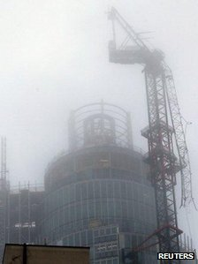 "A damaged crane is seen on the St George""s Tower in Vauxhall"