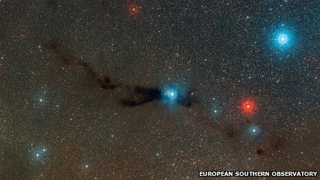 Wide-field view of the Lupus 3 dark cloud and associated hot young stars