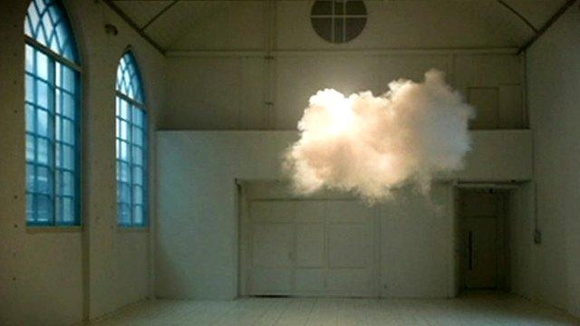 A cloud floating indoors
