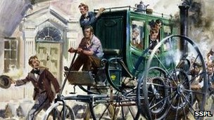 Painting by Terence Cuneo (1907-1996), showing the London Steam Carriage of 1803 by pioneering Cornish engineer and inventor Richard Trevithick (1771-1833)