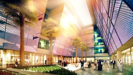 Artist impression of courtyard in Masdar City
