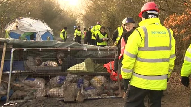 Security staff and protesters at the camp in Combe Haven Valley