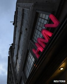 HMV shop sign