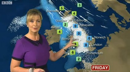 Carol Kirkwood shows more snow is expected