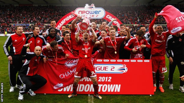 Swindon Town players celebrate the League Two title