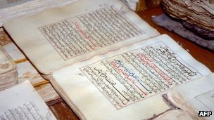An undated picture showing pages of manuscripts displayed at the library in the city of Timbuktu.