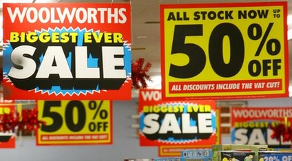 Sale signage in a store