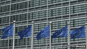 EU flags flying outside the European Commission headquarters in Brussels