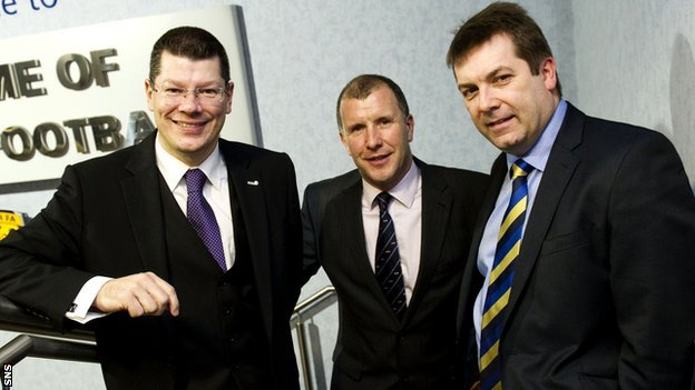 SPL chief executive Neil Doncaster, SFA chief executive Stewart Regan and SFL chief executive David Longmuir