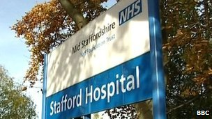 Stafford Hospital sign