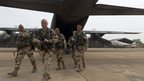 French legionnaires of the 1st Foreign Cavalry Regiment based in Orange, southern France, leave a military plane at Bamako airport, Mali (13 Jan 2013, image released by the French Army Communications Audiovisual Office)