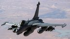 Image provided by the French Army shows a Rafale jet fighter plane flying over Mali on 15 Jan 2013.