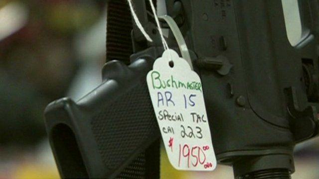 Assault rifle on sale at gun show