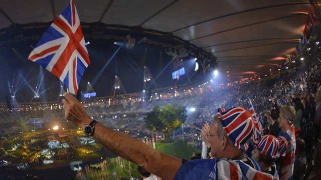 Man waving Union Jack in Olympic stadium