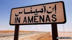 In Amenas road sign