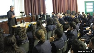 Football Association chairman David Bernstein talks to the Park High students about the Holocaust DVD