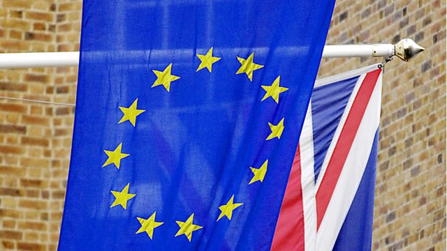 Union flag behind the European Union flag