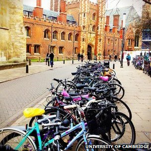 Bicycles outside St John's College, Cambridge