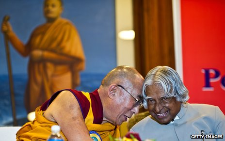 Dalai Lama and the former Indian president APJ Abdul Kalam