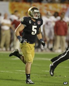 Manti Te'o in the BCS National Championship college football game 7 January 2013