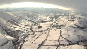 Snow scene taken from the air in South Yorkshire