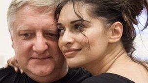 Sophiya Haque, with Simon Russell Beale in rehearsal for Privates on Parade