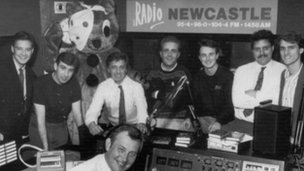 Studio photograph at Radio Newcastle featuring Mark Holdstock and Chris Jackson