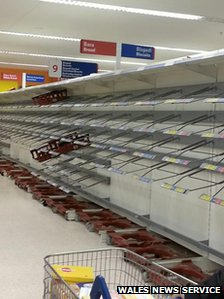 Empty bread shelves Tesco