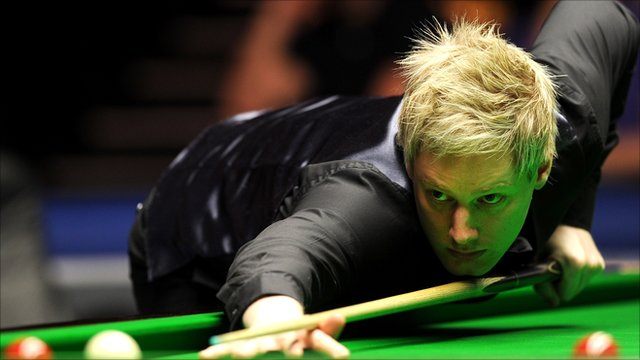 Neil Robertson in action at the Master's Snooker
