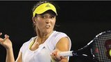 Laura Robson plays a shot against Petra Kvitova