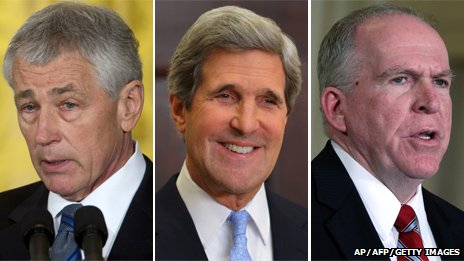 Chuck Hagel (left), John Kerry (centre) and John Brennan (right)