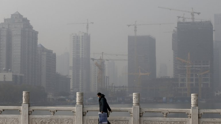 The industrial city of Wuhan, in smog, on 14 January 2013