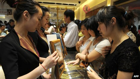 Customers in a shop in China