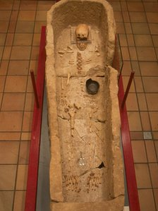 Bath stone coffin containing the skeleton of the Roman man
