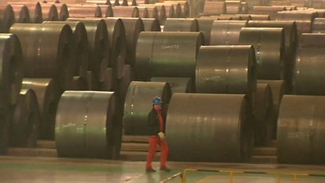 BBC News grab of steel factory in Wuhan