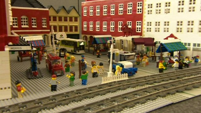 Train station built with plastic bricks