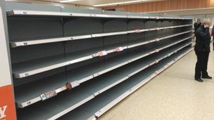 Empty shelves in Sainsbury's