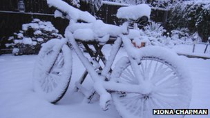 Fiona Chapman's bicycle covered in snow in Bristol