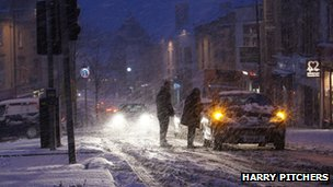 Cars stuck in snow on Bristol's Whiteladies Road