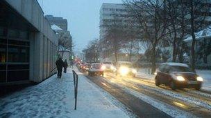 Snow on Union Street in St Helier